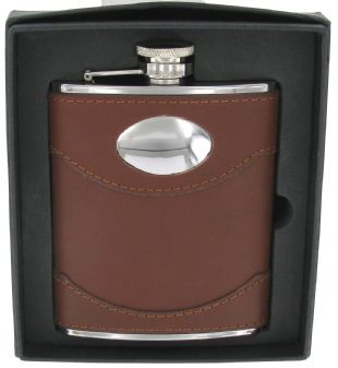Hipflask by Artamis. Stainless Steel, 6oz, Spanish Leather